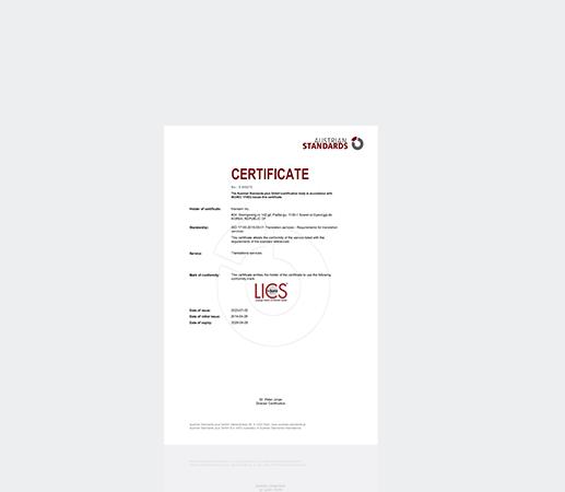 Đạt chứng chỉ ISO 17100